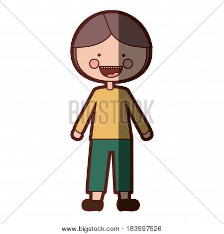 color silhouette shading smile expression cartoon boy with coat and shorts vector illustration