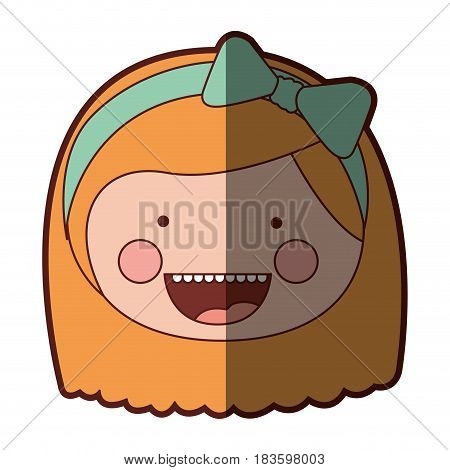 color silhouette shading smile expression cartoon front face girl with short blond hair and bow lace vector illustration