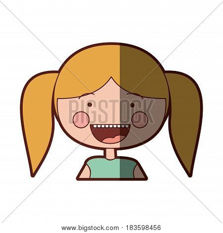 color silhouette shading smile expression cartoon half body girl with blond pigtails hair vector illustration