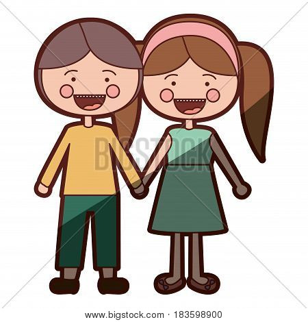 color silhouette shading smile expression cartoon guy and girl pigtails hairstyle with taken hands vector illustration