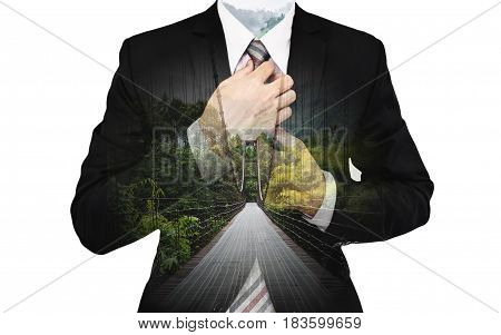 Double Exposure Businessman with bridge way and green forest, on white background