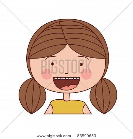 color silhouette smile expression cartoon half body girl with brown pigtails striped hair vector illustration