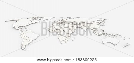 3d background of world map with extruded shapes of states