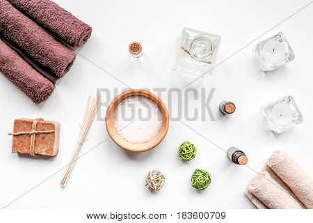 Aromatherapy SPA set with salt and natural oil on white background top view