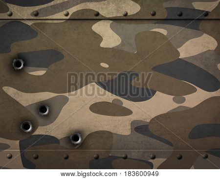 metal plate with camouflage and bullet holes 3d illustration