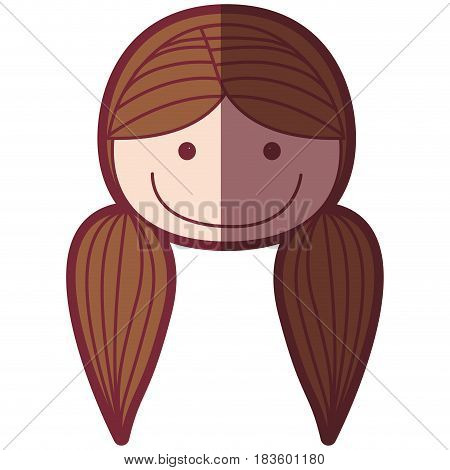 color silhouette shading cartoon front face woman with pigtails hair vector illustration