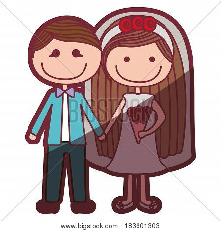 color silhouette shading cartoon groom with formal suit and bride with long hair vector illustration