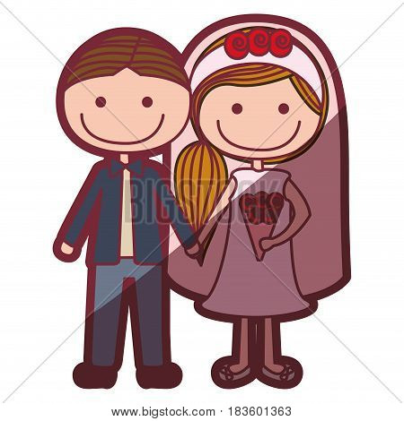 color silhouette shading cartoon groom with formal suit and bride with side hairstyle vector illustration