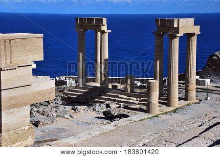 Acropolis in Lindos i Rhodes island, Greece