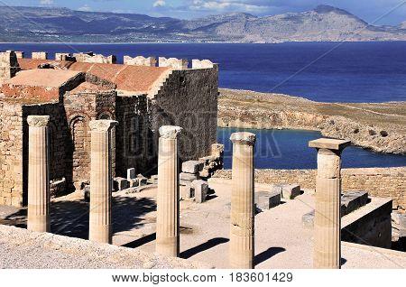 Acropolis in Lindos in Rhodes island, Greece
