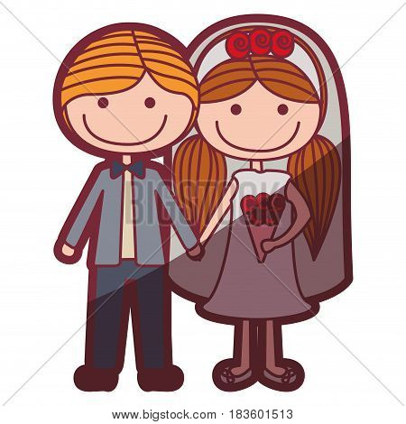 color silhouette shading cartoon groom with formal suit and bride with pigtails hairstyle vector illustration