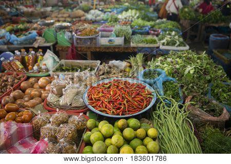 Lao Phonsavan Town Market Fegetable