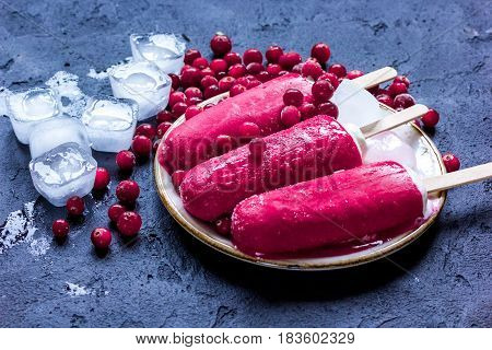 homemade ice-cream with cowberry and ice cubes on dark kitchen table background