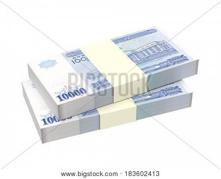 Uzbekistan sums bills isolated on white background. 3D illustration.
