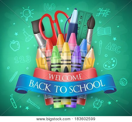 Welcome Back To School with Ribbon, Crayons and School Items in a Chalkboard. Vector Illustration