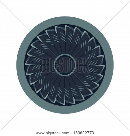Turbines icon propeller fan rotation technology equipment blade wind ventilator generator vector illustration. Airplane vector electric industrial ventilators.