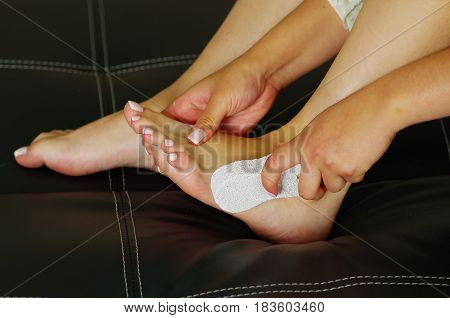 Pumice, dead skin abrasion.Foot care treatment and nail, pedicure concept.