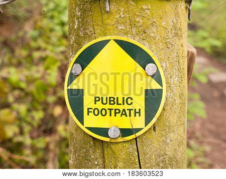 A Public Footpath Sign In The Forest Leading The Way On A Trail