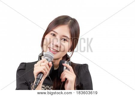 Portrait of young Asian woman enjoys singing the song isolated on white background.