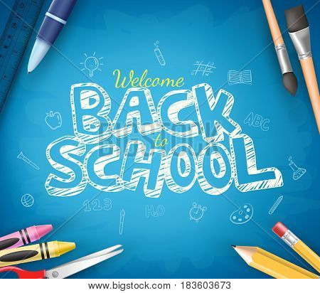 Back to School Text Written in Blue Chalkboard Background with School Items. Vector Illustration