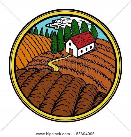 Rural landscape in circle vector illustration. Farm goods label design