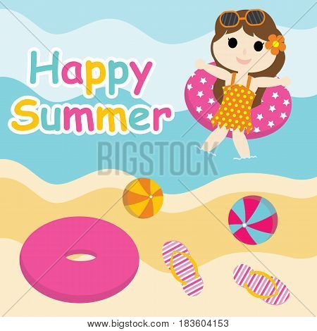 Cute girl plays with swim ring on  the beach vector cartoon, Summer postcard, wallpaper, and greeting card, T-shirt design for kids