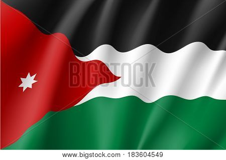 Jordan national flag, fluttering in the wind, educational and political concept, realistic vector illustration