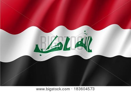 Iraq national flag, fluttering in the wind, educational and political concept, realistic vector illustration