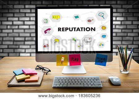 Reputation Popular Ranking Honor Reputation Management Branding Concept.