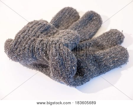 A Close Up Stock Photo Of A Grey Glove Used For Hands In Winter To Keep Warm, Flded And Neat, Wool A