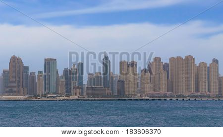 DUBAI UAE 2 FEBRUARY 2017 Panorama Dubai city. City centre, skyscrapers Sheikh Zayed Road. united arab emirates