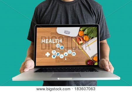 Health Balance Application Food Doctor Hand Working Fresh Food Healthy Lifestyle Organic Exercise