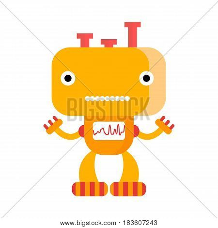Cute smiling orange robot with friendly face.