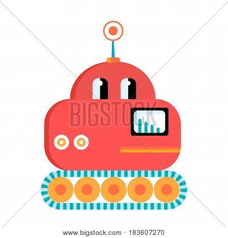 Funny red lunar rover robot . Cartoon vector character