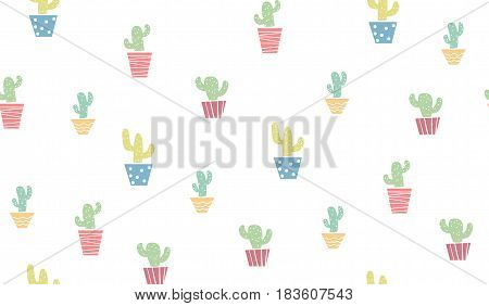 Pastel colored cute seamless cactus vector pattern.