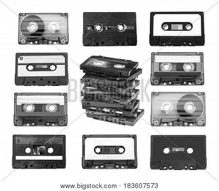 Old compact audio cassette (tape) macro shot on white background