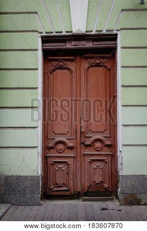 Old Wooden Door In Saint Petersburg, Russia
