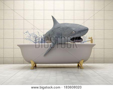 Shark in the bathroom.,3d render