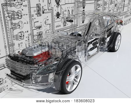 Transparent model cars car on the background of the drawing.,3d render