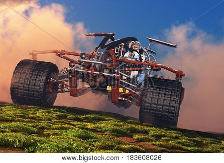 The automobile on a background of a nature  ,3d render