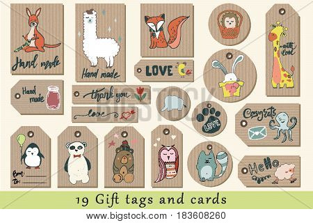 Gift tags, cards, labels and stickers with cute cartoon animals on craft paper. Hand drawn vector clipart. Thank you card, hand made, love, congrats and hello
