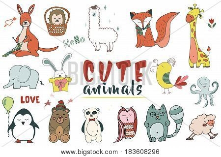 Colorfull Hand drawn Set of vector animals in cartoon style.