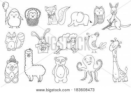 Hand drawn Set of vector animals in cartoon style.