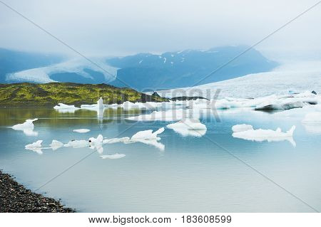 Icebergs In The Glacial Lake. Iceland