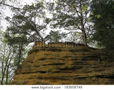 Colorful sandstone and limestone rock cliff or outcrop along the trail to St. Louis Canyon at Starved Rock State Park with trees in spring.
