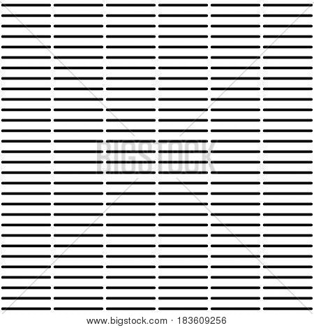 Abstract seamless pattern horizontal regular rounded lines striped background. Japanese or Chinese bamboo table mat style. Black and white colors. Vector illustration.