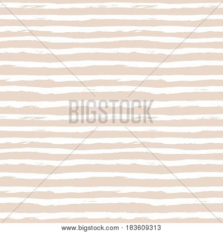 Seamless pattern with horizontal hand drawn stripes lines. Abstract pastel cute background in naive scandinavian style. White and beige or light peach colors. Vector illustration.