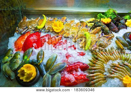 The fresh seafood on ice at the fish market