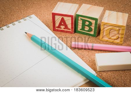 Wood Letter Blocks Alphabet Abc With Notebook Or Worksheet For Practice Alphabet Handwriting Drill.