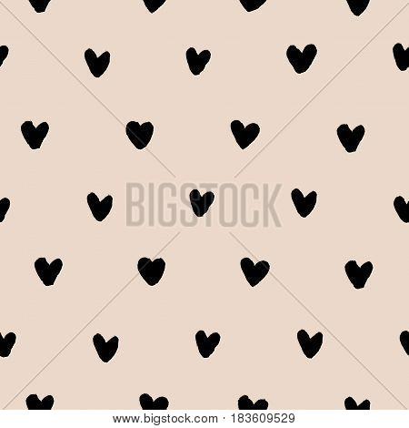Hand drawn doodle black ink hearts on pastel brown or almond color background. Seamless pattern. Vector illustration.